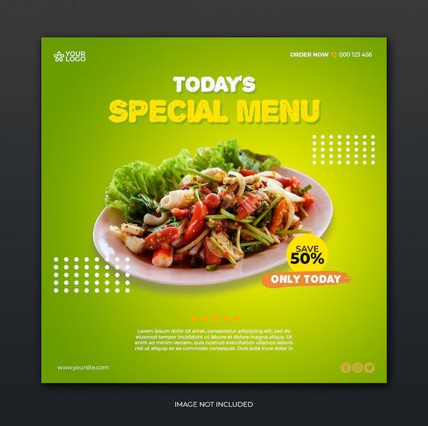 Restaurant banner und essen menü social media post vorlage