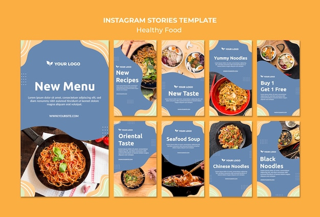 Restaurant instagram geschichten template-design