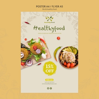 Restaurant mit gesunder lebensmittelfliegerschablone