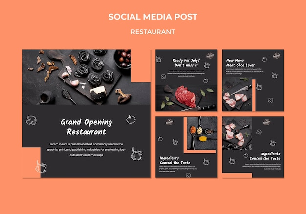 Restaurant social media post vorlage