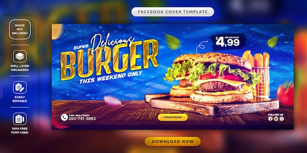 Restaurant-speisekarte oder burger-social-media-cover-vorlage