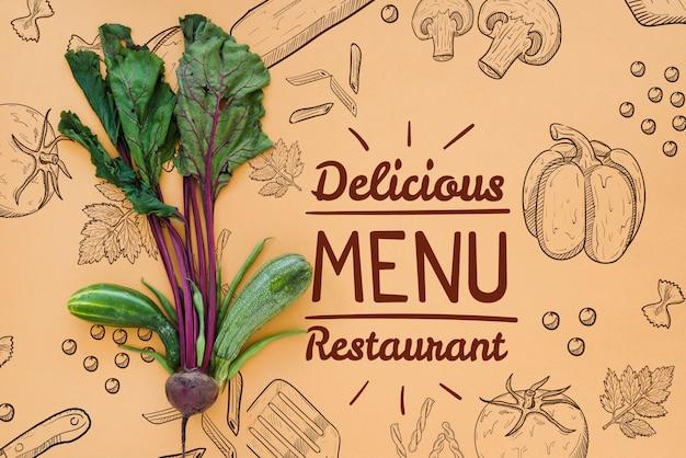 Restaurantmenühintergrund mit rettichen
