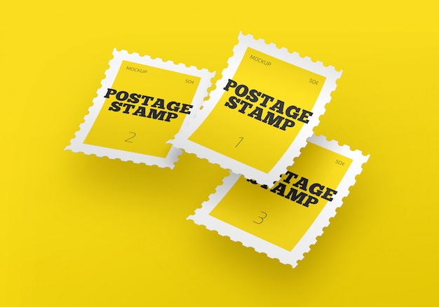 Retro briefmarke psd mockup