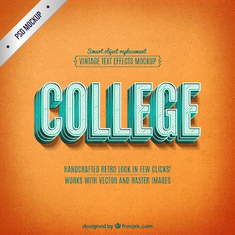 Retro college-schriftzug