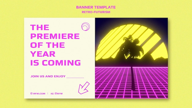 Retro-futurismus-banner-vorlage