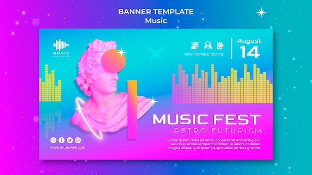 Retro-futuristische horizontale fahnenschablone für musikfest