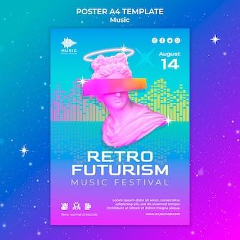 Retro-futuristische vertikale plakatvorlage für musikfest