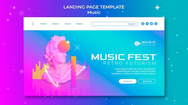 Retro-futuristische zielseitenvorlage für musikfest