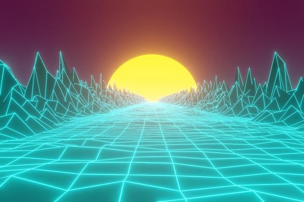 Retro-futuristischer hintergrund