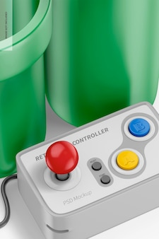 Retro game controller mockup, nahaufnahme