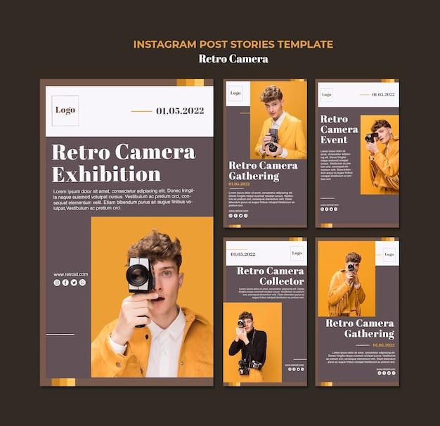Retro kamera instagram geschichten vorlage