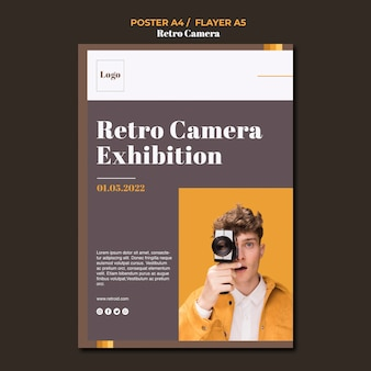 Retro kamera konzept poster design