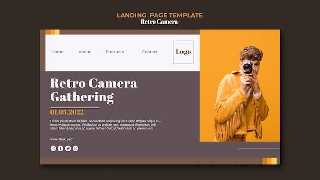Retro kamera landing page style