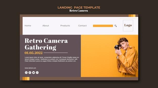 Retro kamera landing page vorlage