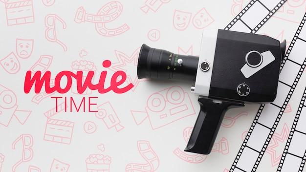Retro-kamera mit filmzeitmodell