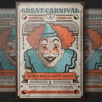 Retro- karnevalsplakatmodell mit clown