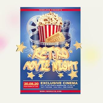 Retro kino flyer vorlage