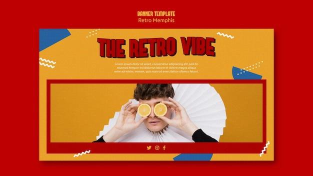 Retro memphis banner design