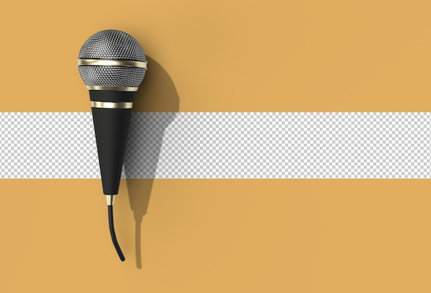 Retro-mikrofon-musikpreis-modellvorlage, karaoke, radio transparente psd-datei.