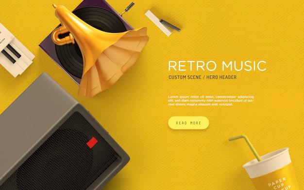 Retro musik benutzerdefinierte szene