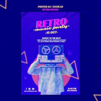 Retro musik party poster vorlage