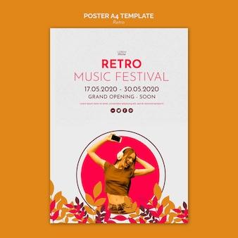 Retro musikkonzept poster vorlage