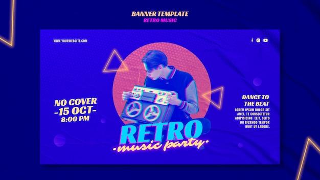 Retro musikparty banner vorlage