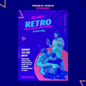 Retro musikparty flyer vorlage