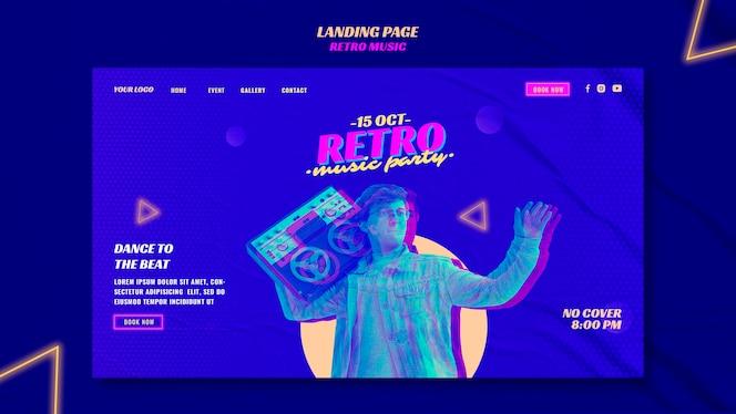 Retro musikparty landingpage vorlage