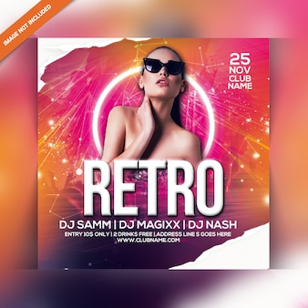 Retro nacht party flyer