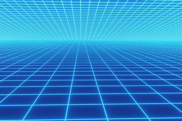 Retro neonlichthintergrund mit blauer farbe