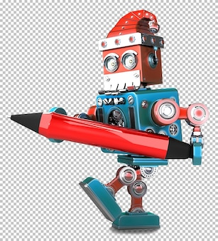 Retro-roboter-weihnachtsmann, der einen roten stift hält. isoliert auf weiß