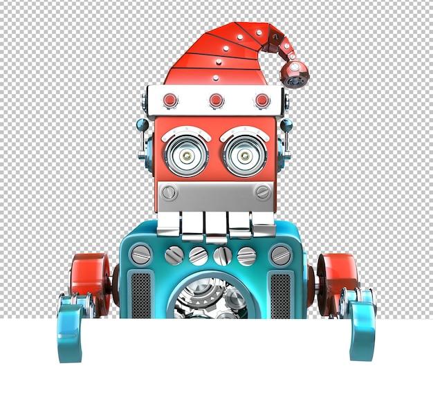 Retro-sankt-roboter, der hinter dem leeren brett hervorschaut