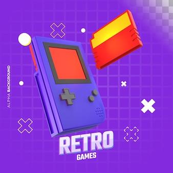Retro-videospiel-banner. 3d-darstellung