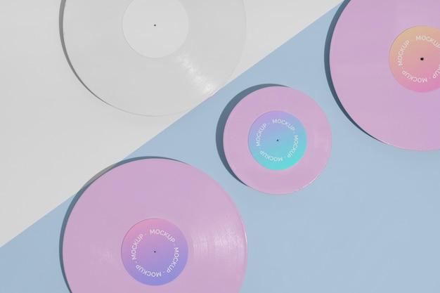 Retro-vinylscheibe mit abstraktem verpackungsmodell