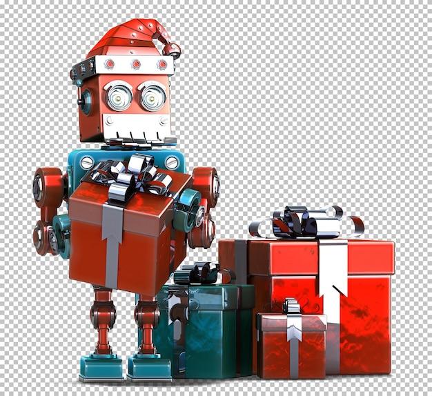 Retro weihnachtsmann-roboter mit geschenkboxen. weihnachtskonzept