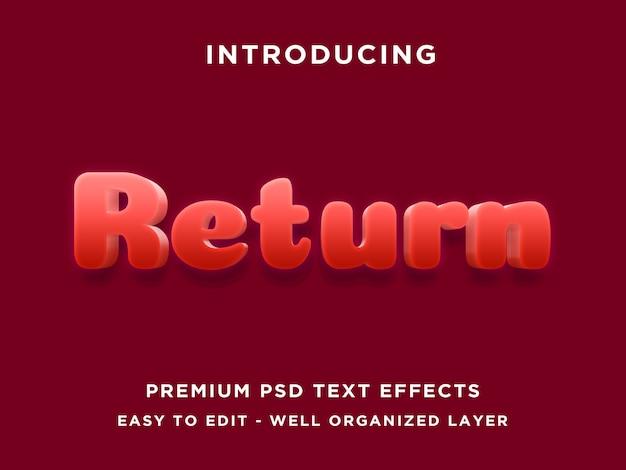 Return - 3d-text-effekt psd-vorlage