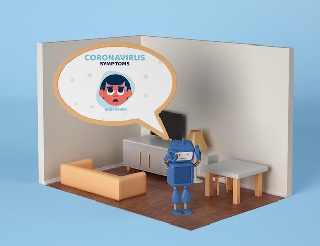 Roboter mit coronavirus-symptomen