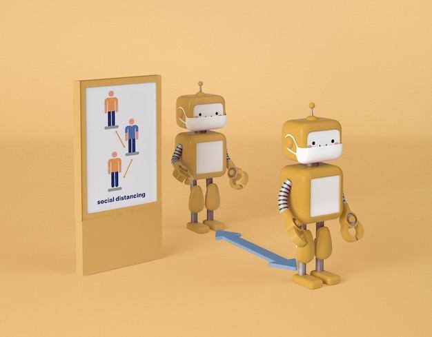 Roboter mit medizinischen masken halten soziale distanz