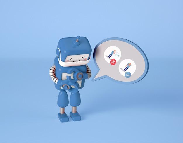 Roboter mit medizinischer maske niesen