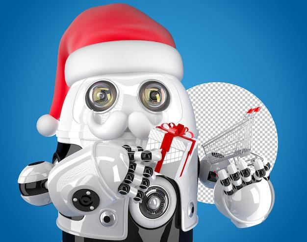 Roboter-sankt, der einen einkaufswagen hält. weihnachtskonzept