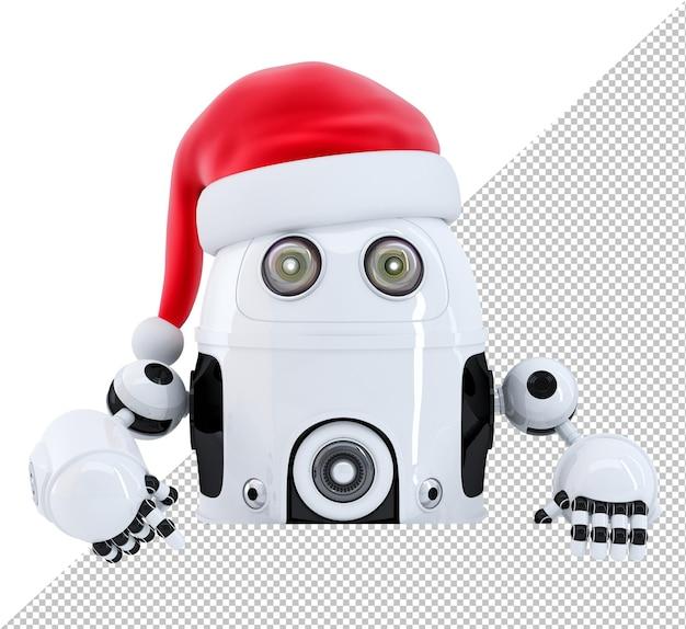 Roboter santa zeigt in leere werbebanner