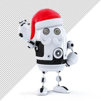 Roboter santa zeigt ok-zeichen. technologiekonzept