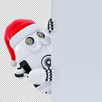 Roboter-weihnachtsmann, der auf weiße schildfahne zeigt. isoliert über weiß