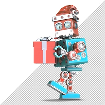 Roboter-weihnachtsmann geht mit einer riesigen geschenkbox