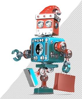 Roboter-weihnachtsmann geht mit einkaufstasche