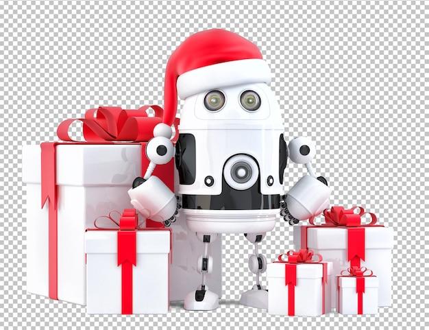 Roboter-weihnachtsmann mit geschenkboxen. weihnachtskonzept. isoliert