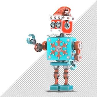 Roboter-weihnachtsmann zeigt auf unsichtbares objekt