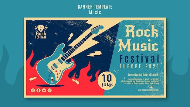 Rock musik festival banner vorlage