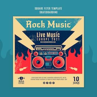 Rock musik festival square flyer